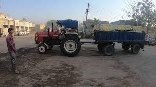 Swaraj 855 tractor back trolley with wheat load in mandi