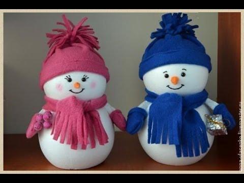 Новогодние поделки своими руками снеговик из стаканчиков