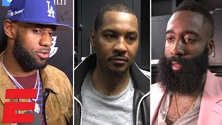 LeBron James, Carmelo Anthony, James Harden and more on Rockets vs Lakers fight   NBA Interview