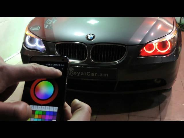 BMW color changing angel eyes, headlights - YouTube