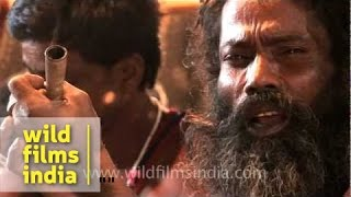Ganja Baba Aghori smoking a chillum