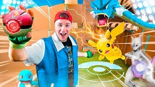 POKEMON BOX FORT BATTLE IRL! Catching My First Pokemon