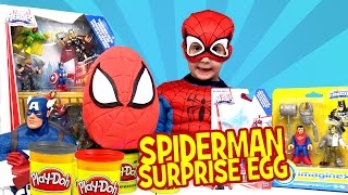 SpiderMan Play-doh Surprise Egg with Spiderman Toys Avengers Toys & Justice League Toys