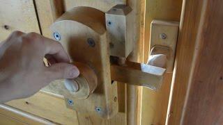 Wooden door latches at Amogla camp