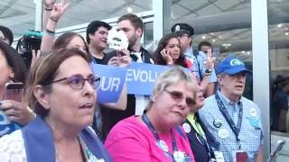 Bernie Sanders Delegates Protest At Media Tent Of Democratic National Convention