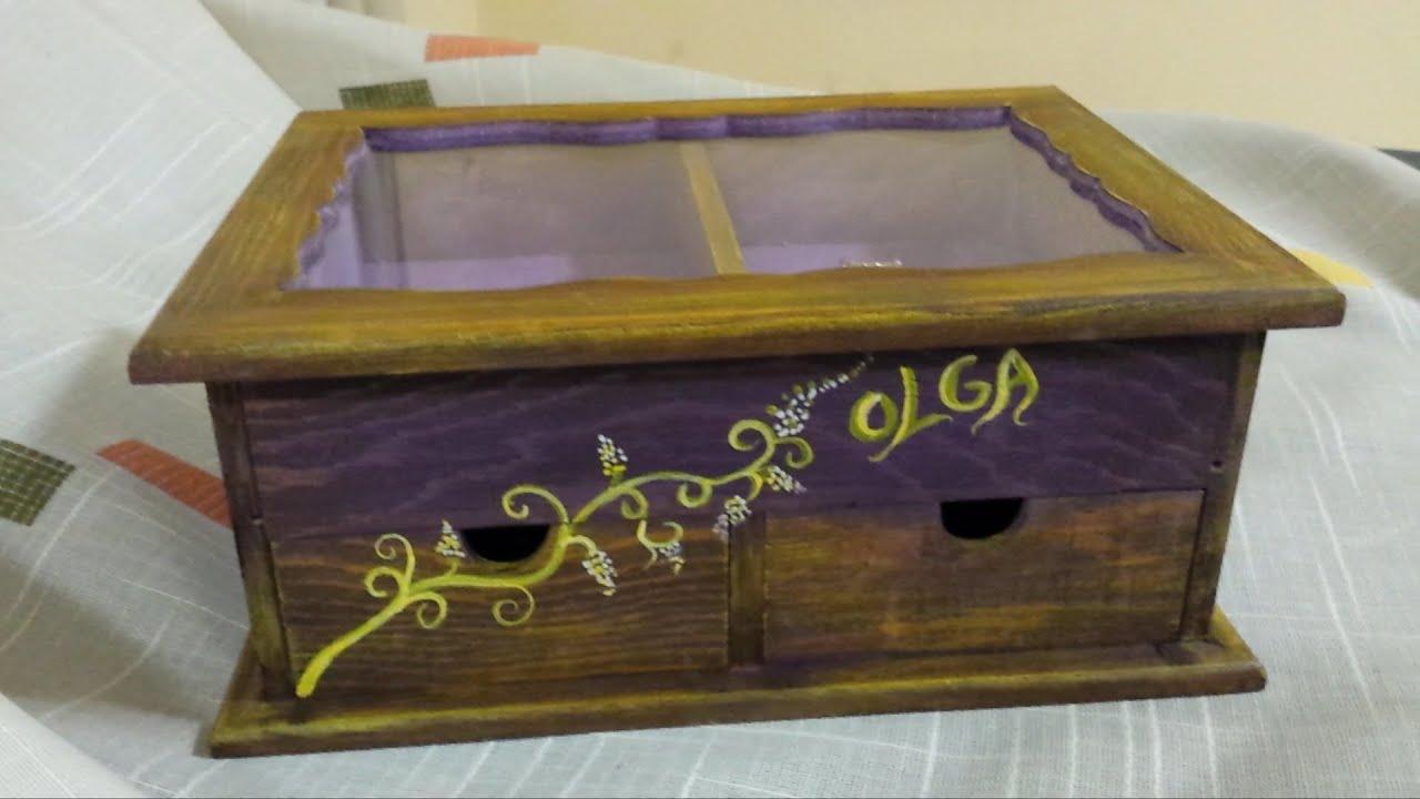 Diy caja de madera decorada de colores colaboraci n con - Manualidades cajas madera ...