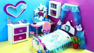 DIY Miniature  Frozen Dollhouse Bedroom for Disney's Elsa - How to Make Miniature Room for Elsa