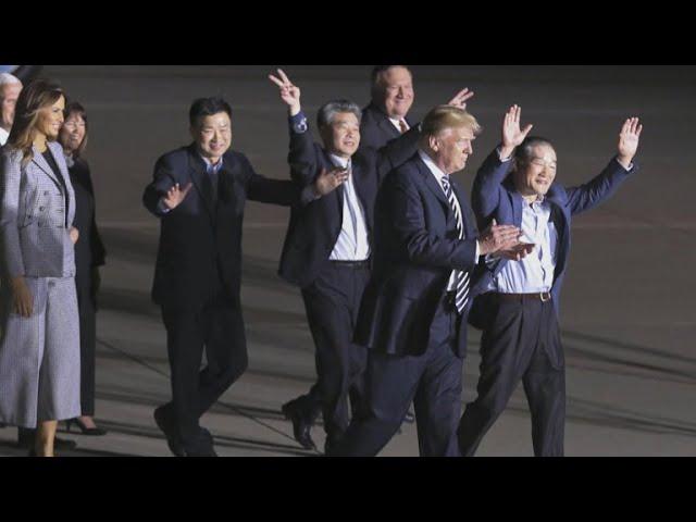 Three Americans freed from North Korea return to U.S.