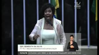 Dep. Benedita da Silva (PT) defende o governo Dilma e afirma que o impeachment é um golpe