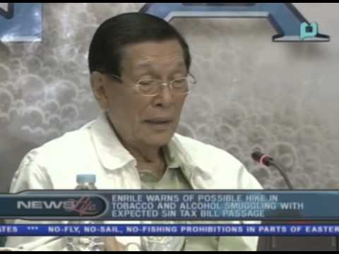 Enrile warns of possible hike in tobacco and alcohol smuggling with expected Sin Tax Bill passage