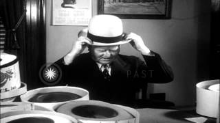 Vice President John Nance Garner tries on various hats in Washington DC. HD Stock Footage