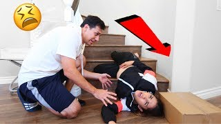 FALLING DOWN THE STAIRS WHILE PREGNANT PRANK! *HE FREAKS OUT* | Jancy Family