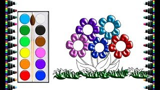 How to draw colorful flowers for children - draw and coloring for kids - bé yêu