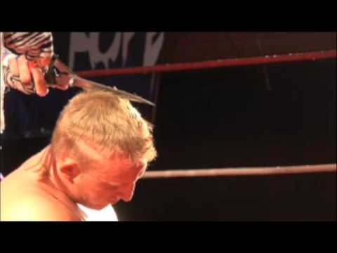 FAN CAM HARD FOOTAGE - Brutus The Barber Beefcake gives Duke Bronson a haircut after their opening bout in Fall River, MA - March 20th, 2009 @ PAL in Fall Ri...
