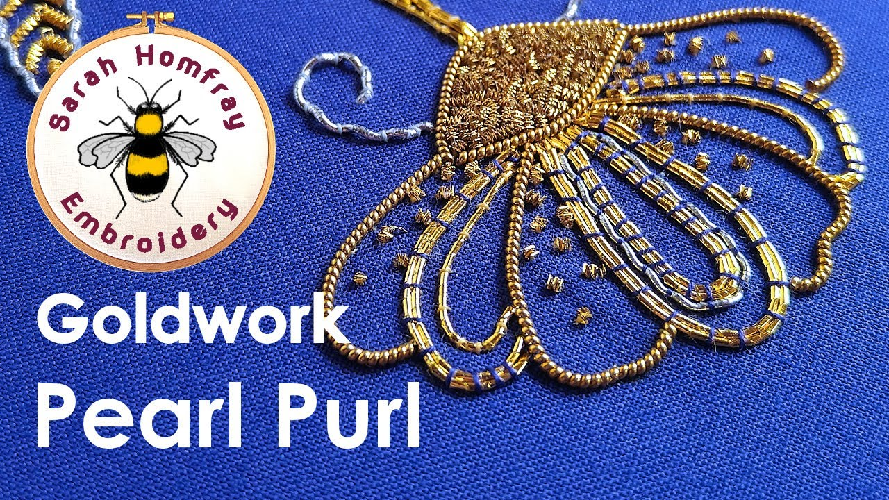 Goldwork embroidery tutorial part applying pearl purl