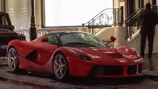 Ferrari LaFerrari powersliding in rain! startup and loud acceleration