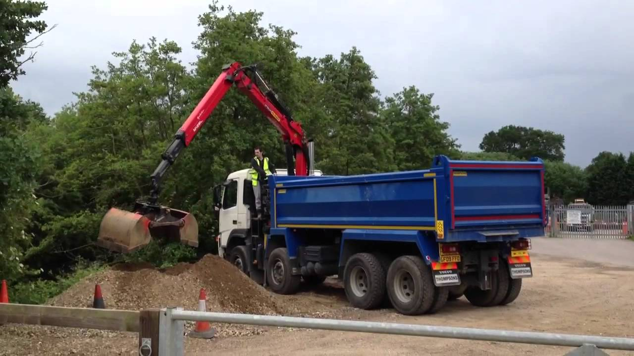 Volvo Grab Tipper FM13 480 With Epsilon M125L Crane. - YouTube