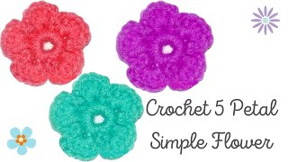 How to Crochet a Simple 5 Petal Flower - Crochet Jewel