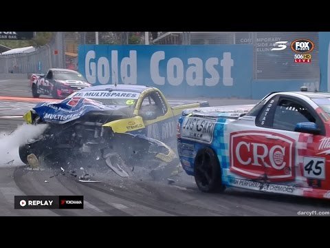 Hansford & Dontas Hard Crash Race 2 | V8 Utes - Gold Coast 2016