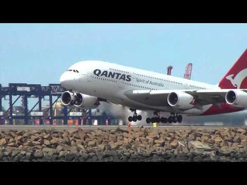 [Short Takeoff] Qantas Airlines A380 takeoff 34L Sydney International Airport HD
