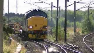 DRS class 37 no. 37423 on 4Z26 Motherwell to Wabtec Barclay at Barassie 26-09-12.mpg