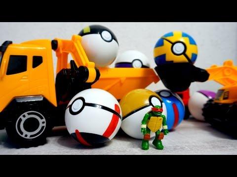 Черепашка Ниндзя и покеболы. Видео про покемонов и игрушки. Pokemon Go