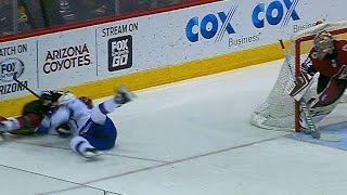Callahan and Ekman-Larsson tangled as both crash into boards hard