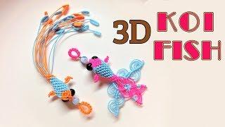 Macrame keychain tutorial - 3D KOI fish pattern - So cute and pretty macrame animal