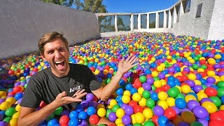 Hide and seek in 200,000 ball pit! (on our rooftop)
