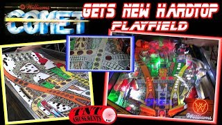 #1426 INSTALLING New Playfield HARDTOP in Williams COMET Pinball - A Todd's Tips TNT Amusements