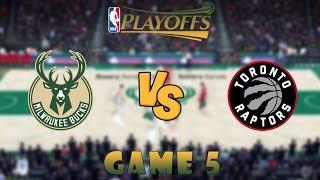 Milwaukee Bucks vs. Toronto Raptors Game 5 Conf. Finals NBA Playoffs! NBA 2K19