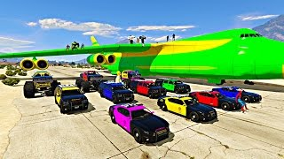 Spiderman Police Cars Transportation on Biggest Airplane | GTA V Mods