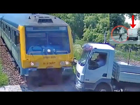 Vonat elé hajtó teherautó és szabálytalan járművezetők rendőrségi videókon