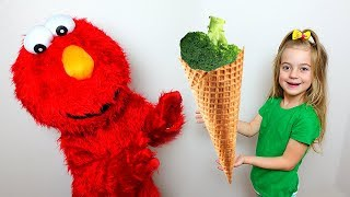 Girl and Brother playing in Broccoli Ice cream Learn colors with Nursery Rhymes Song