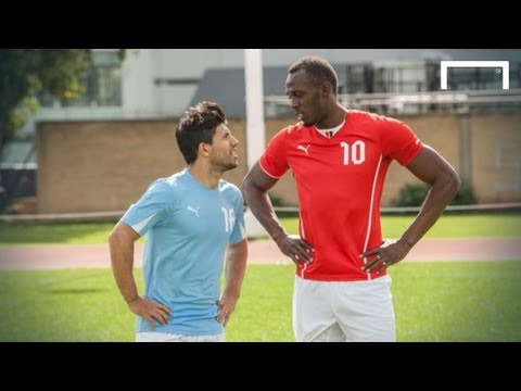 Usain Bolt speeds up Aguero ahead of Manchester derby