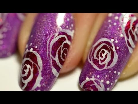 Easy Nail art flower roses