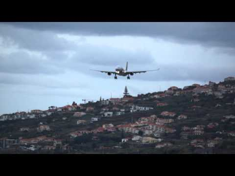 Spectacular Funchal  Landing, TAP Air Portugal Airbus 330-202, Madeira, Portugal, HD and full Screen