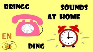 Sounds at home for kids babies. First words for toddlers to read. Onomatopoeia for kids