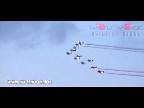 Team AeroDynamix : world's largest formation flight by world's largest air show team 11機の編隊飛行