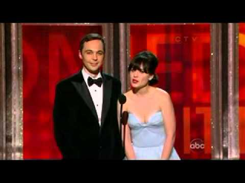 Jim Parsons and Zoey Deschanel presenting at the Emmys 2012