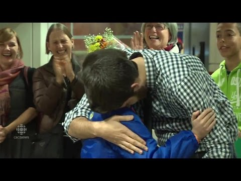 Syrian family reunion at Halifax airport