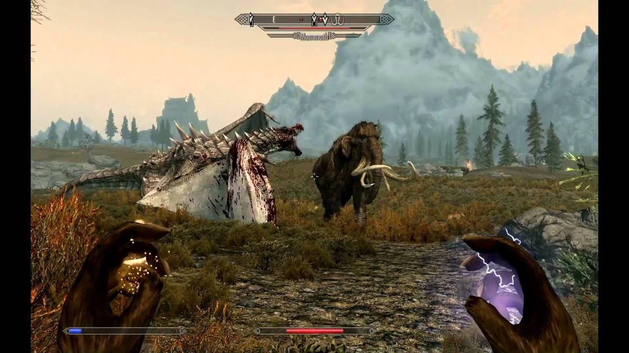Skyrim Mammoth vs Dragon Epic Skyrim Fight Mammoth vs