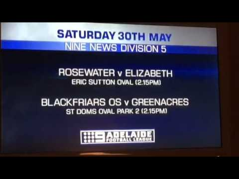 Channel 9 Adelaide Football League - Fixture Saturday 30 May