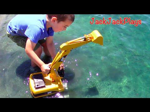Construction Trucks for Kids: Beach Playtime: Toy Bruder Excavator Dump Truck Tonka Bulldozer Grader