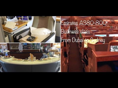 Emirates A380. Business class. From Dubai to Sydney