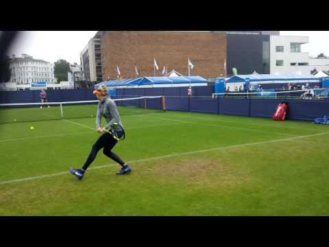 Eugenie Bouchard pre match practice