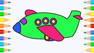 Dibujo aeroplano y colorear l Colorear paginas y aprender colores para niños