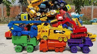 Learn Colors With Car Toys For Children Excavator Crane Truck Dump Truck Container Truck For Kids