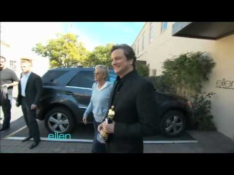 Colin Firth Surprises Ellen with His Oscar!