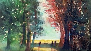 Forest Road Watercolor, tutorial, an easy step by step lesson